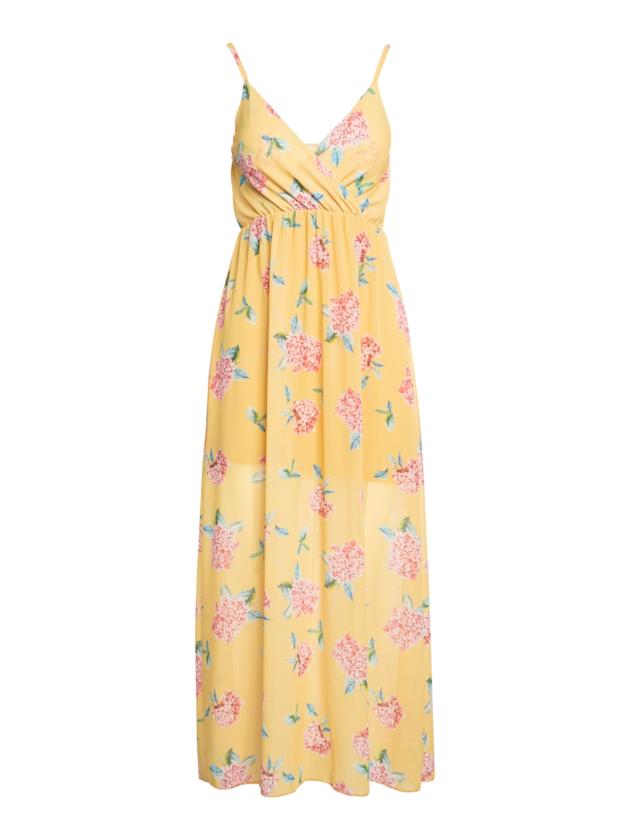 Robe Longue Jaune Avec Bretelles Delicates Et Imprime Floral Close Up