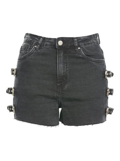 jeansshort met gespen