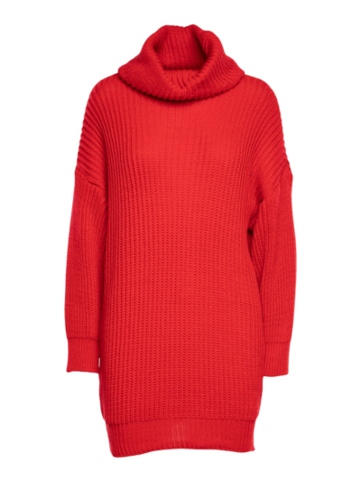 Knitted sweater dress with roll collar
