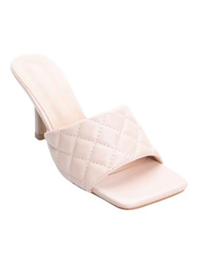 Doorgestikte sandaal met vierkante neus