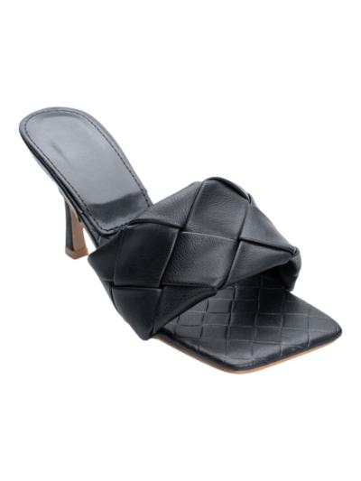 Geweven sandaal met vierkante neus