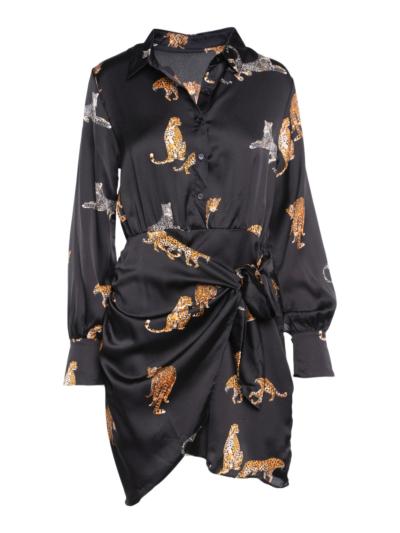 Satijnen jurk met tijgers