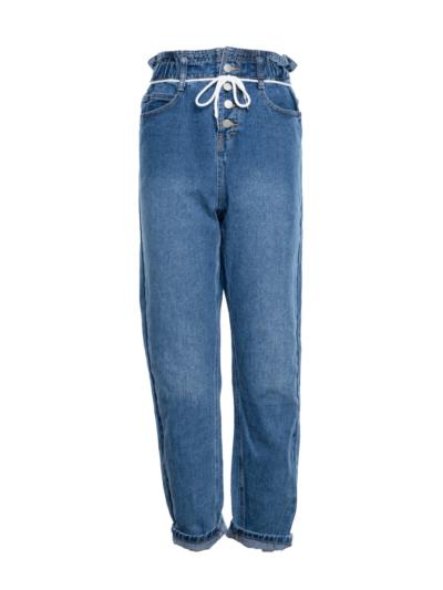 Paperbag mom jeans met koord