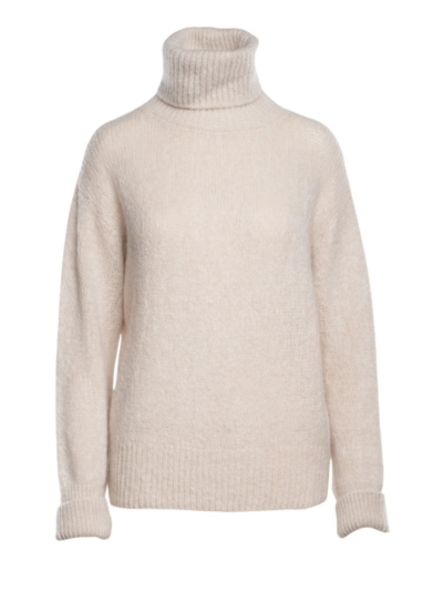 Sweater with a large roll collar