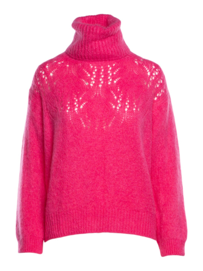 Sweater knit Perfo with roll collar