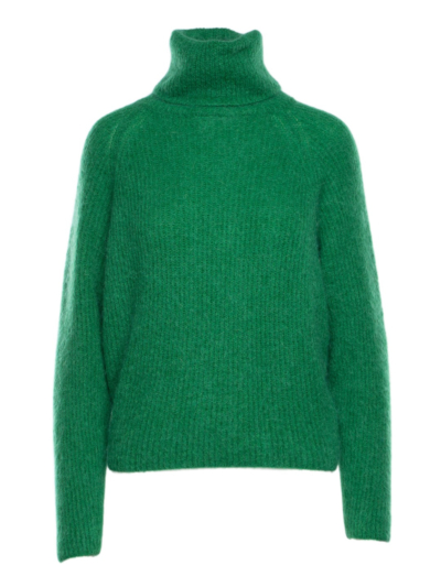 Knitted sweater with roll collar