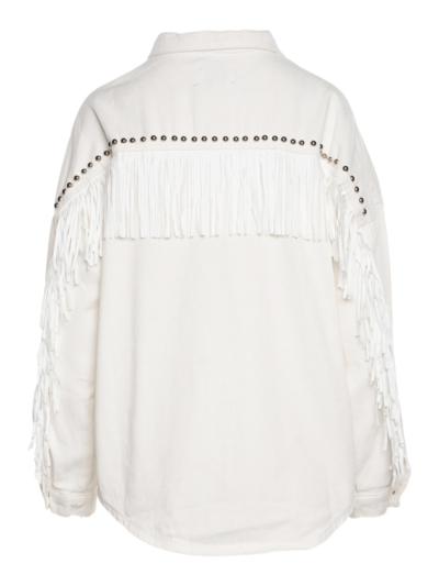 Denim jacket with fringes