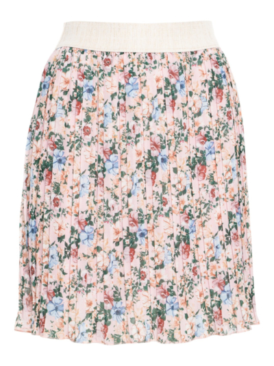 Skirt with pleats and flowers