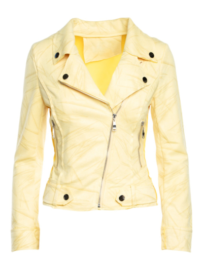Suede jacket with fern print