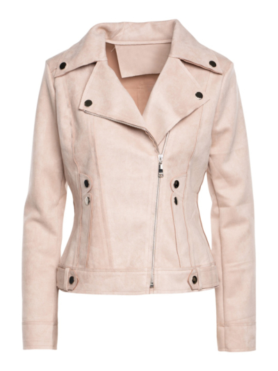 Suede jacket with button detail
