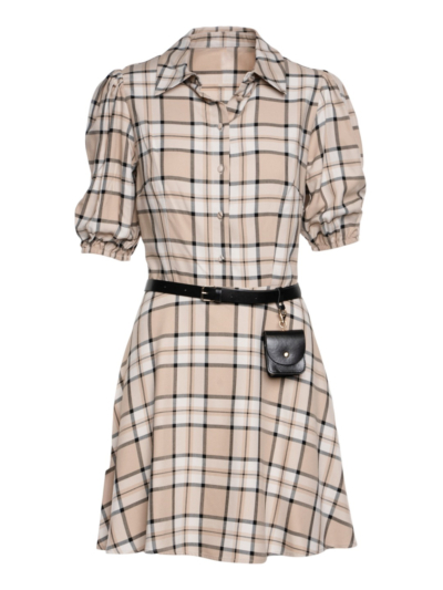 Checked dress with belt