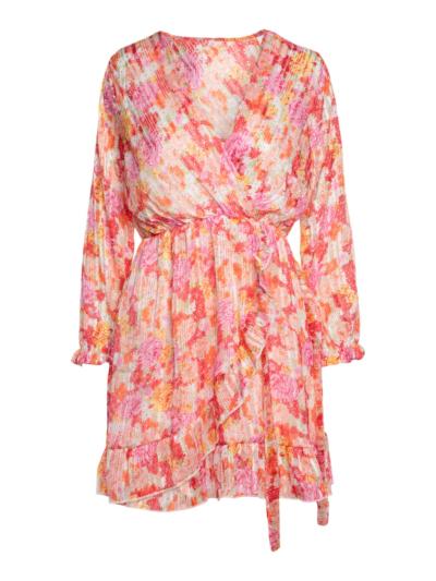 Korte overslag jurk met lint
