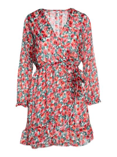 Overslag jurk met rozenprint