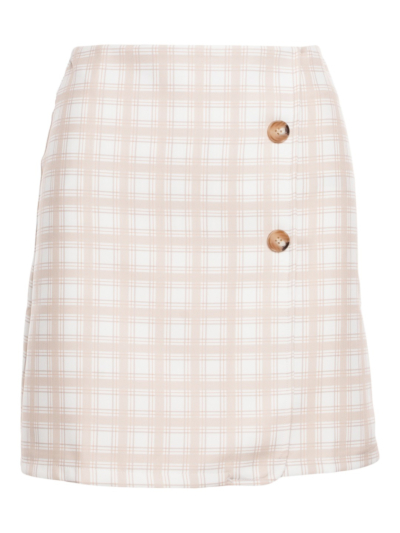 Skirt with checks and buttons