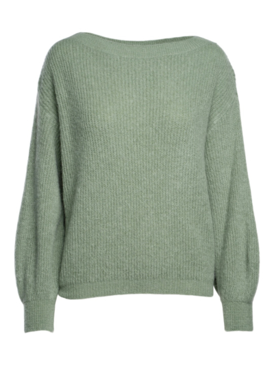 Knitted sweater with rib stitch