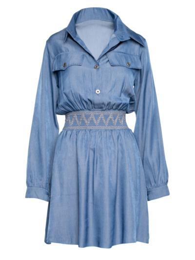 Korte tencel jurk met elastische tailleband