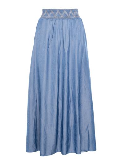 Lange tencel rok met elastische tailleband