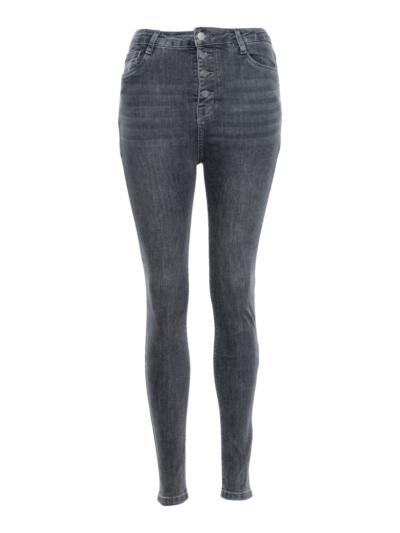 Jeans slim hoge taille knopen