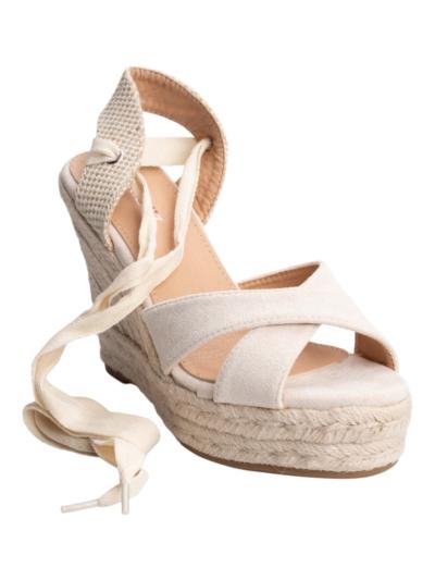 Sleehak sandaal met lint