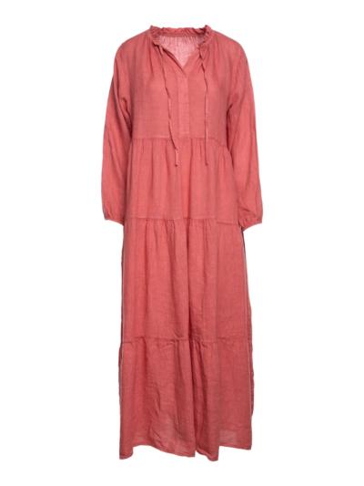 Lange linnen jurk met koordjes