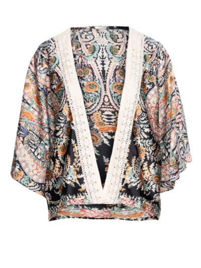 Kimono cashprint met boorddetail