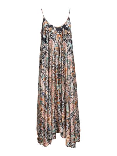 Lange jurk cashprint met fijnebandjes