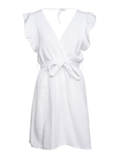 Korte jurk in tetra met volants