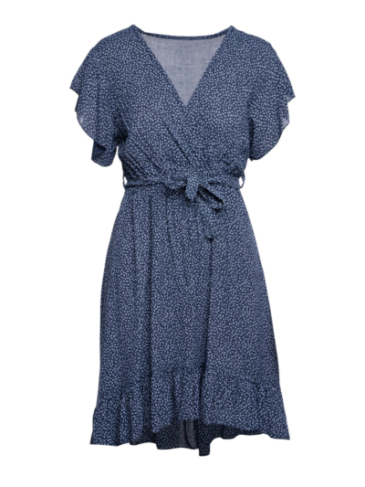 Assymetrishe jurk madeliefprint