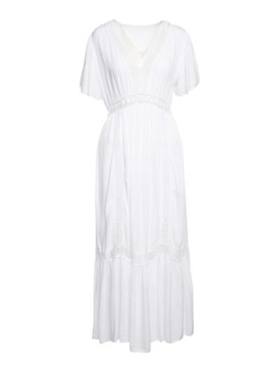 Lange jurk met crochet detail