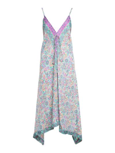Boho jurk multicolor met V hals