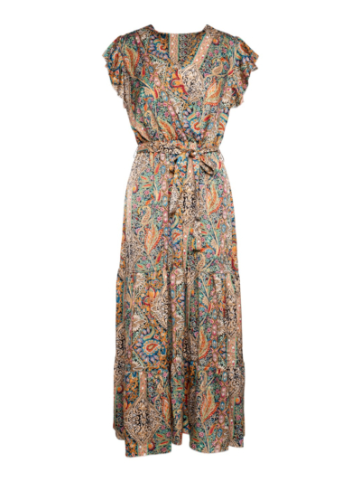 Lange jurk met perziche print