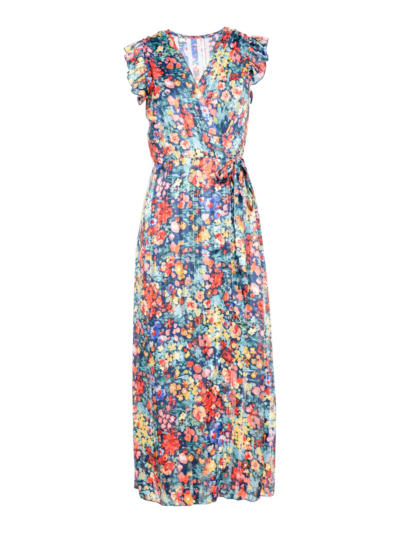 Long wrap dress with flowers