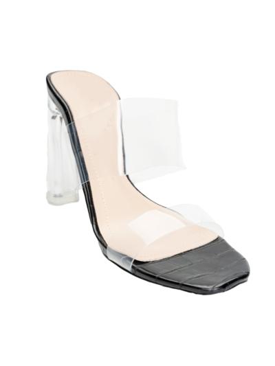 Sandal with vinyl