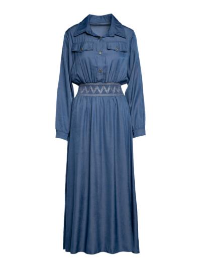 Lange jurk tencel met elastische tailleband