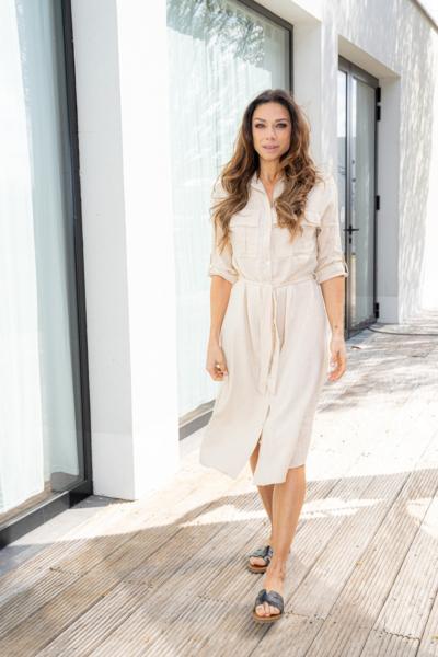 Lange jurk in zachte linnenmix